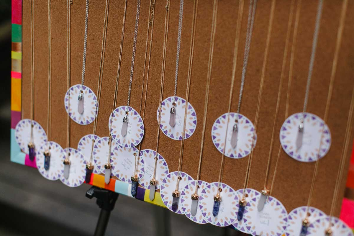 Dream catcher baby shower place cards and necklace favors