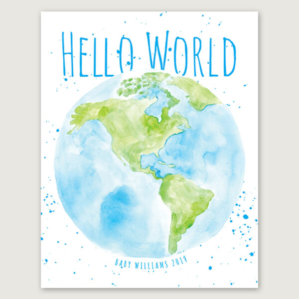Hello World baby shower thumbprint guestbook
